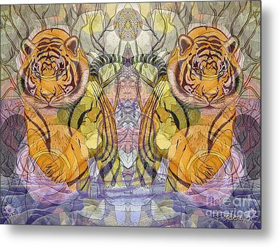 Tiger Spirits In The Garden Of The Buddha Metal Print