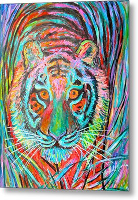 Tiger Stare Metal Print by Kendall Kessler