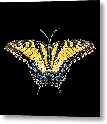 Tiger Swallowtail Butterfly Bedazzled Metal Print by R  Allen Swezey
