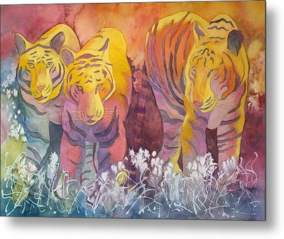 Metal Print featuring the painting Tiger Trio by Nancy Jolley