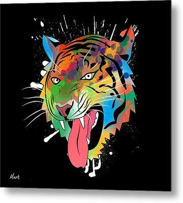 Tiger Vector  Metal Print by Mark Ashkenazi