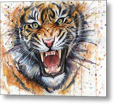 Tiger Watercolor Portrait Metal Print