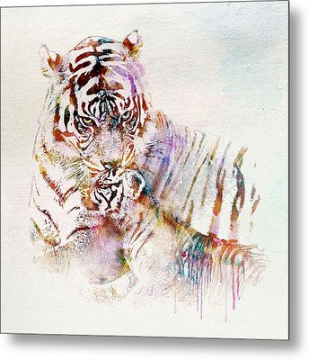 Tiger With Cub Watercolor Metal Print by Marian Voicu