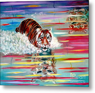 Metal Print featuring the painting Tigers Crossing by Phyllis Kaltenbach