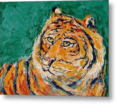 Tiger's Focus Metal Print by Kat Griffin