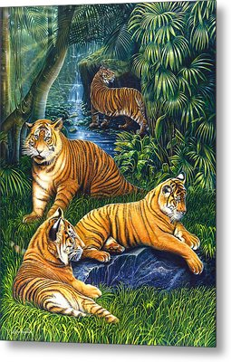 Tigers Metal Print by Larry Taugher