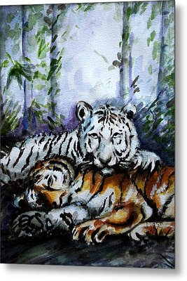 Metal Print featuring the painting Tigers-mother And Child by Harsh Malik