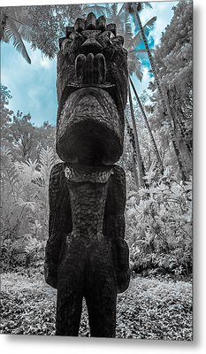 Tiki Man In Infrared Metal Print