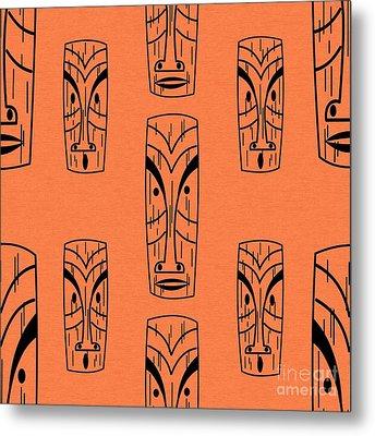 Tiki On Orange Pillow Metal Print