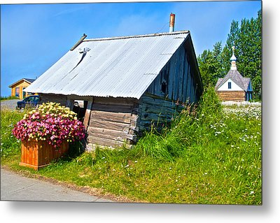 Tilted Shed In Old Town Kenai-ak Metal Print by Ruth Hager