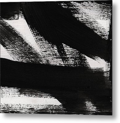 Timber 2- Horizontal Abstract Black And White Painting Metal Print by Linda Woods