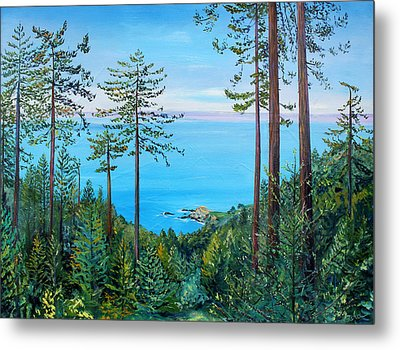 Metal Print featuring the painting Timber Cove On A Still Summer Day by Asha Carolyn Young