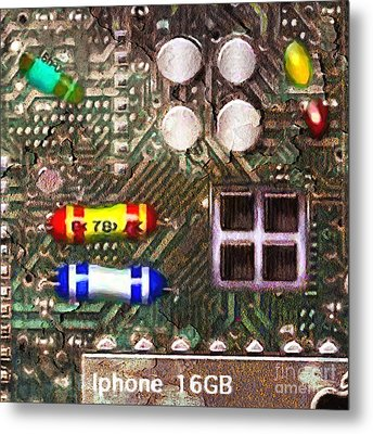 Time For An Iphone Upgrade 20130716 Square Metal Print by Wingsdomain Art and Photography