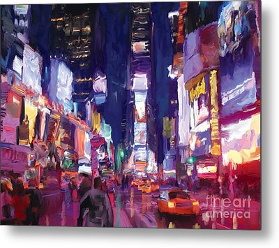Amy's Time Square In The Rain Metal Print by Tim Gilliland