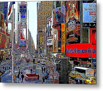 Time Square New York 20130503v4 Metal Print by Wingsdomain Art and Photography
