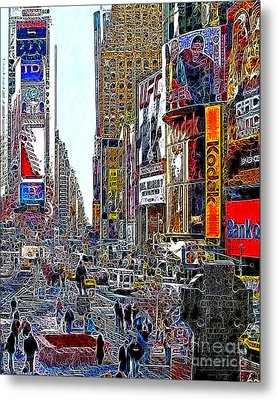 Time Square New York 20130503v7 Metal Print by Wingsdomain Art and Photography
