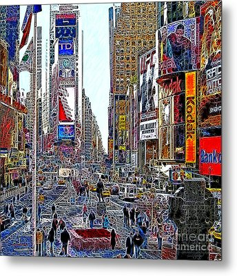 Time Square New York 20130503v8 Square Metal Print by Wingsdomain Art and Photography