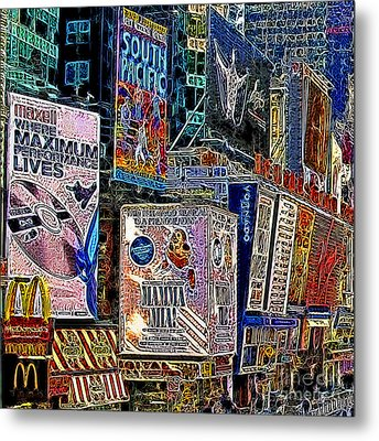 Time Square New York 20130503v9 Square Metal Print by Wingsdomain Art and Photography