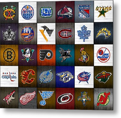 Time To Lace Up The Skates Recycled Vintage Hockey League Team Logos License Plate Art Metal Print by Design Turnpike