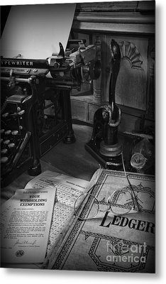 Time To Pay Your Taxes Black And White Metal Print by Paul Ward