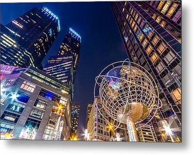 Time Warner And Trump Towers At Night Metal Print