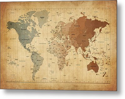 Time Zones Map Of The World Metal Print by Michael Tompsett