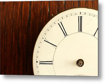 Timeless Left Side Of Antique Watch Face With No Hands Metal Print