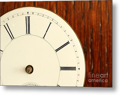 Timeless Right Side Of An Antique Watch Face With No Hands Metal Print