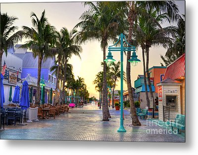 Times Square Fort Myers Beach Metal Print by Timothy Lowry