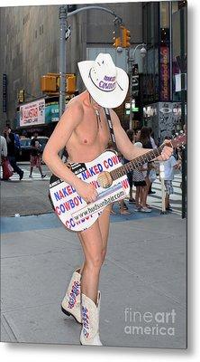 Times Square Naked Cowboy Metal Print by John Telfer