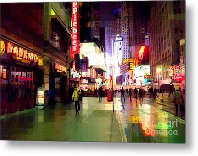 Times Square New York - Nanking Restaurant Metal Print by Miriam Danar