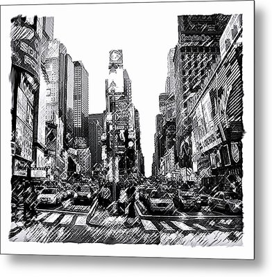 Times Square   New York City Metal Print by Iconic Images Art Gallery David Pucciarelli