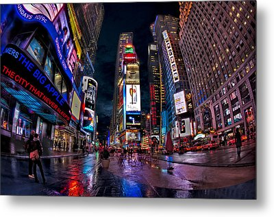 Times Square New York City The City That Never Sleeps Metal Print by Susan Candelario