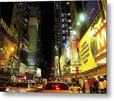 Times Square Photofresco Metal Print by Joseph Hedaya