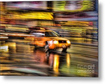 Times Square Taxi I Metal Print