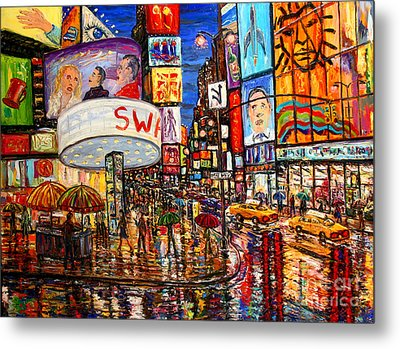 Times Square With Lion King Metal Print by Arthur Robins