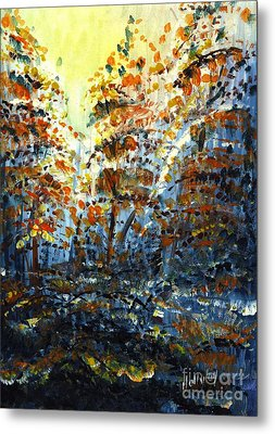 Metal Print featuring the painting Tim's Autumn Trees by Holly Carmichael