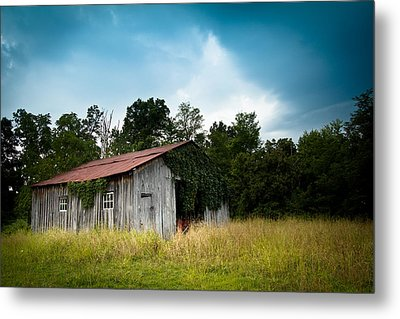 Tin Roof...ivy Covered Barn Metal Print by Shane Holsclaw