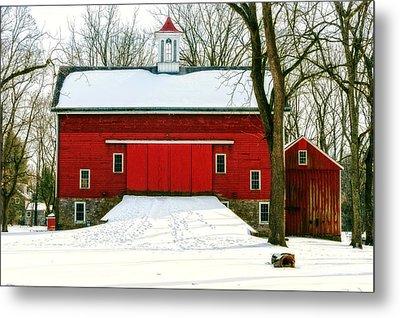 Tinicum Barn In Winter II Metal Print