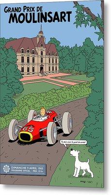 Tintin Grand Prix De Moulinsart 1965  Metal Print