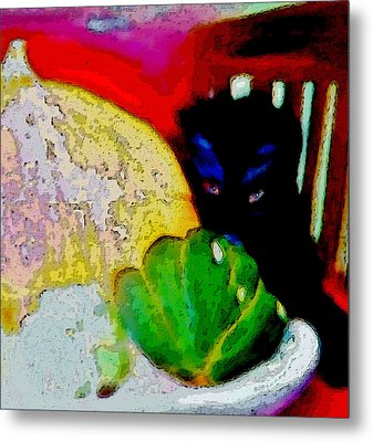 Metal Print featuring the painting Tiny Black Kitten by Lisa Kaiser