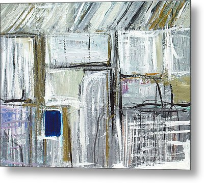 Tiny Blue Opening In The White Wall Metal Print by Kazuya Akimoto
