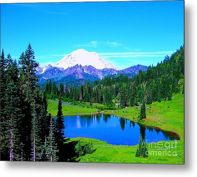 Tipsoo Lake Mount Rainier Metal Print by Ann Johndro-Collins