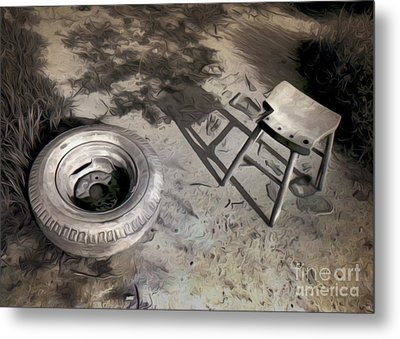 Tire And Stool Metal Print by Gregory Dyer