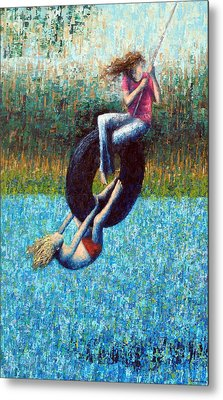 Tire Swing Metal Print by Ned Shuchter