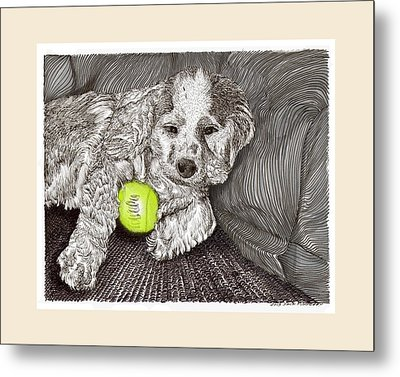 Tired Puppy Metal Print