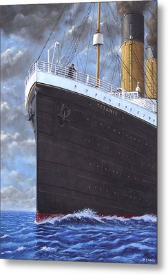 Titanic At Sea Full Speed Ahead Metal Print by Martin Davey