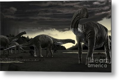 Titanosaurs In The First Storm Metal Print by Rodolfo Nogueira