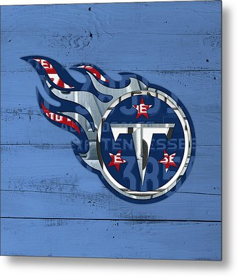 Titans Football Team Retro Logo Recycled Tennessee License Plate Art Metal Print by Design Turnpike