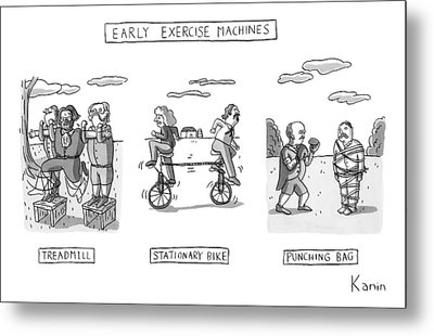 Title: Early Exercise Machines. Three Early Metal Print by Zachary Kanin